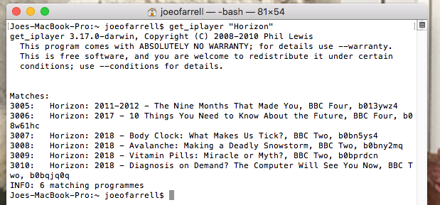Downloading BBC programmes - get_iPlayer - Not The Archers